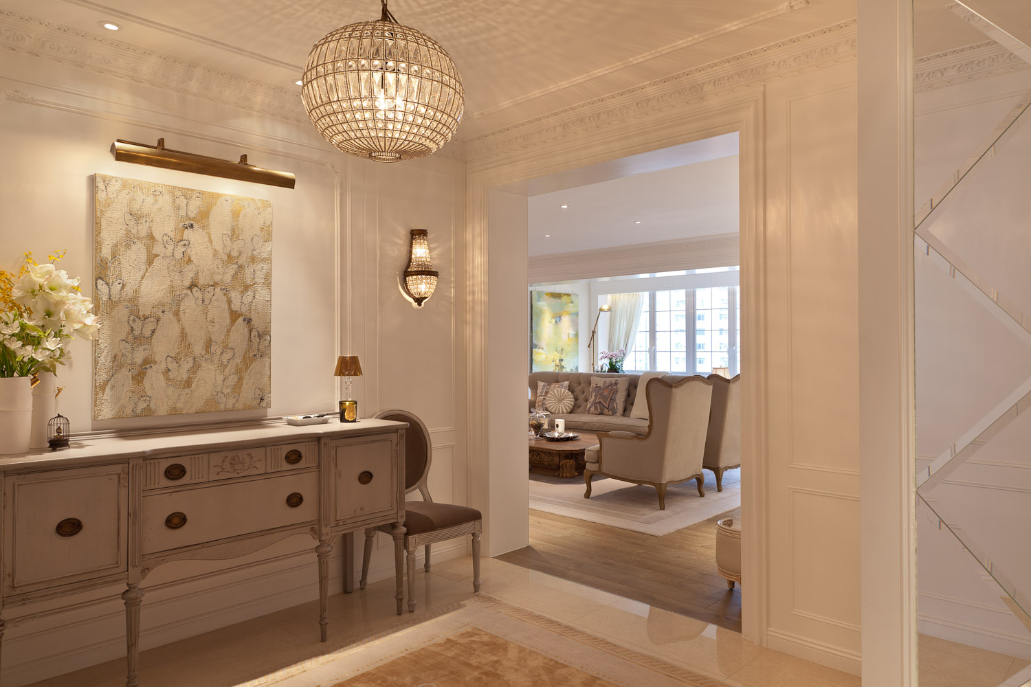 lui design and associates hong kong interior design firm residential classic french white cream antique vintage colonial