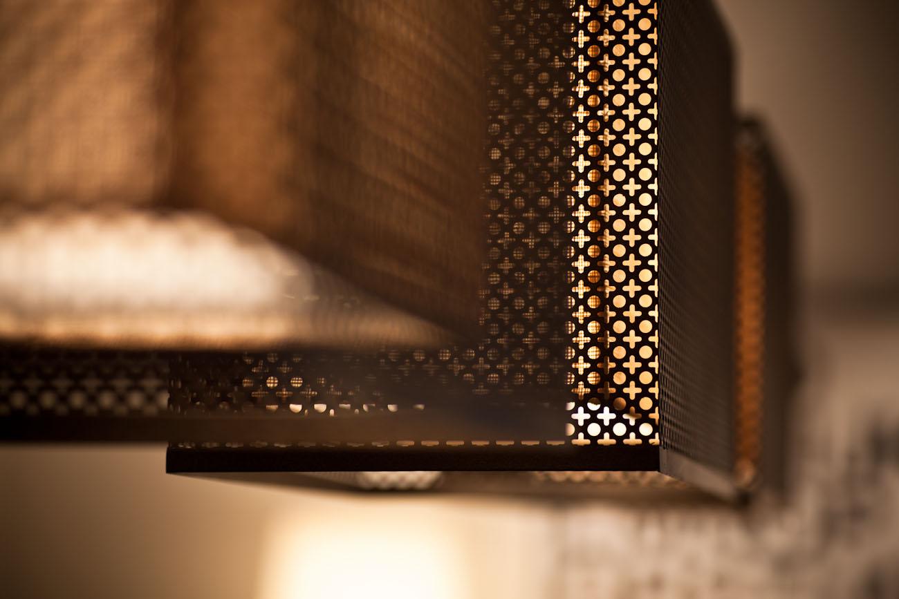 lui design associates designer interior apartment condo residential earth tones wood minimal hong kong china architecture laser cut metal lampshade detail lighting